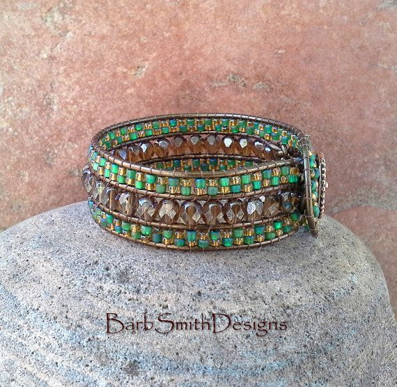 Turquoise Green Copper Beaded Cuff Bracelet by BarbSmithDesigns