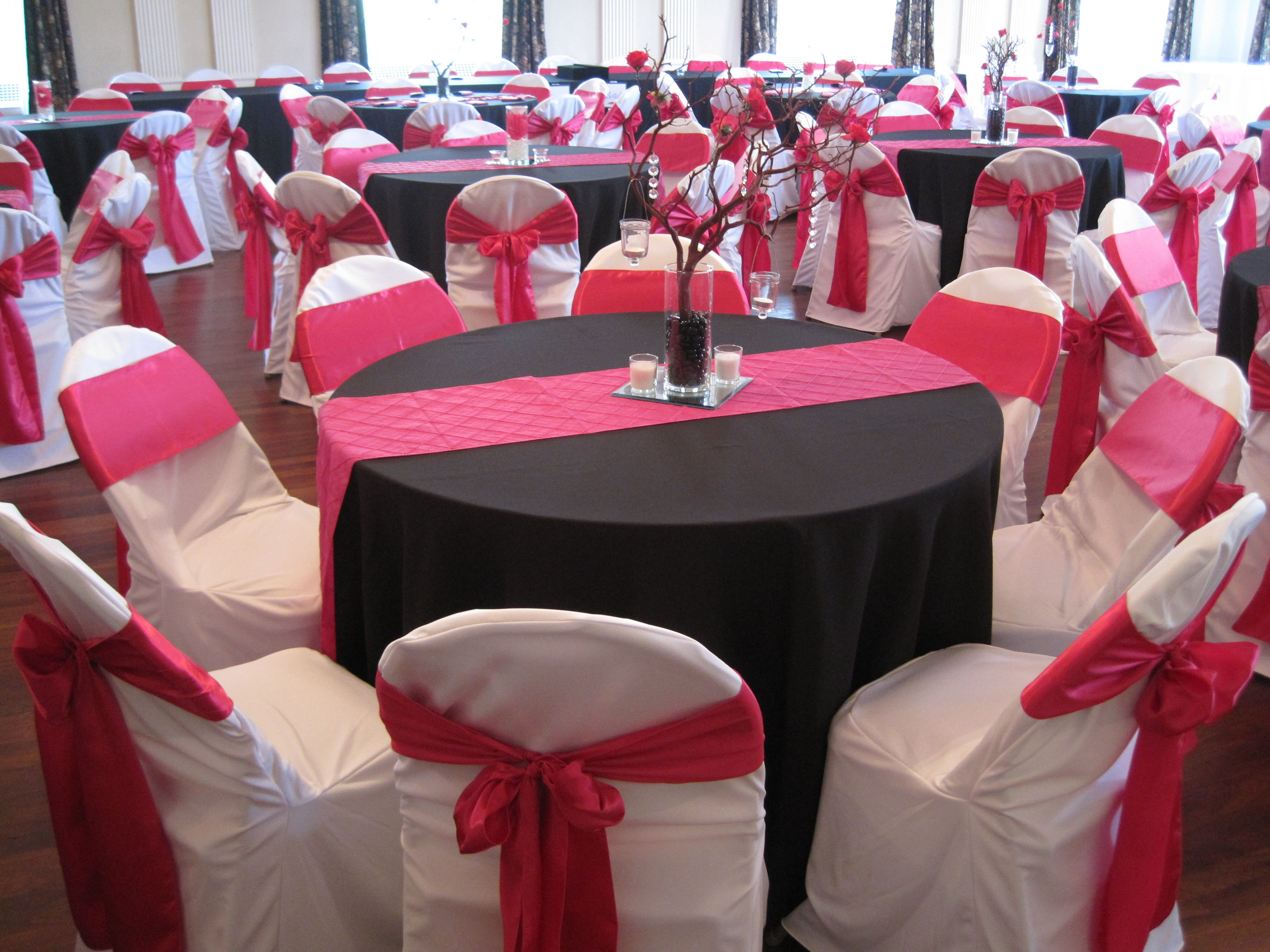 Black Tablecloths, White Custom Chair Covers, Hot Pink / Fuchsia Runners  And Chair Ties