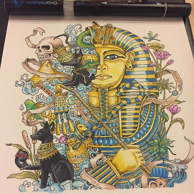 Awesome Acient Egypt Colouring Page Which Was Coloured By Guigui304 With Their Chameleon Pens