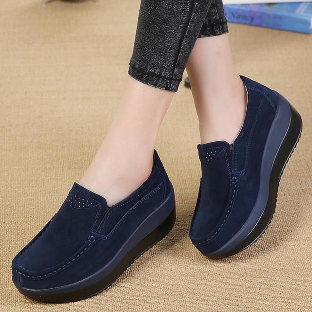 e806ad0a8da8 PINSEN 2017 Spring Women Flat Platform Loafers Shoes Ladies Suede Leather  Hollow Casual Shoes Slip on Flats Moccasins creepers