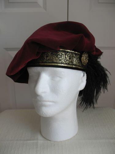 70f57f4965672 NEW BURGUNDY RENAISSANCE MEDIEVAL TUDOR FLOPPY MUFFIN HAT CAP COSTUME SIZE  XL Renaissance Hat