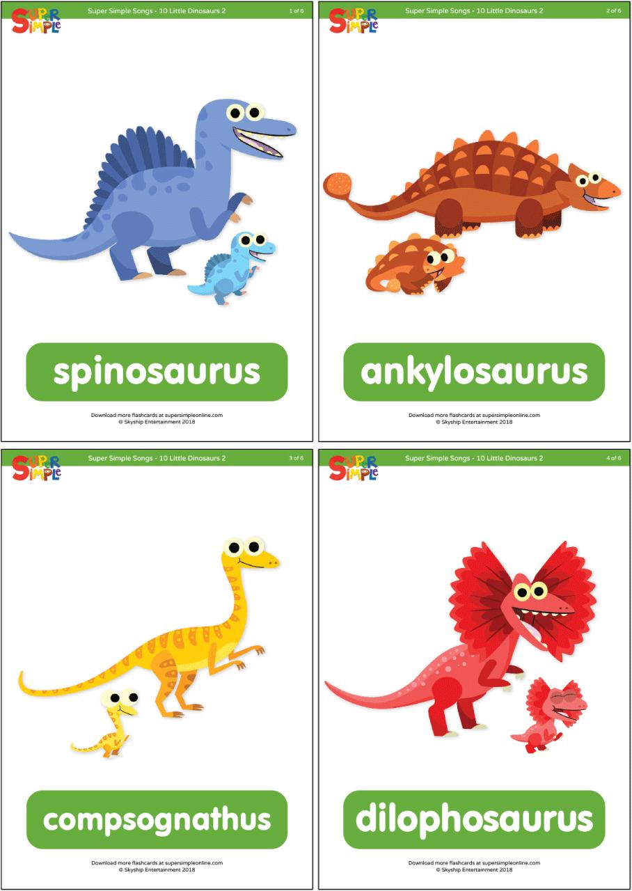 10 Little Dinosaurs 2 Flashcards Super Simple In 2020 Dinosaur Posters Dinosaur Activities Preschool Super Simple Songs