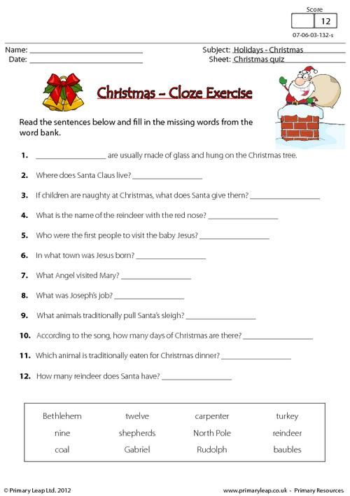 this christmas printable is a cloze exercise students are asked to read the sentences and fill in the missing words there is a word bank to help them