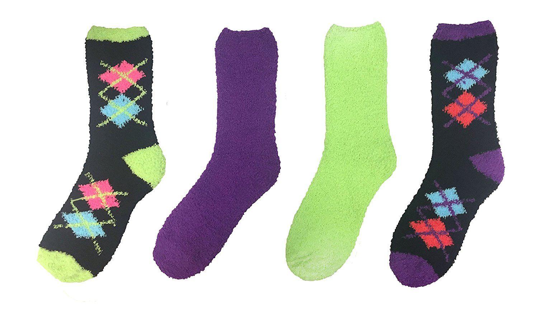 4 Pack Just One Women's Fun Winter Fuzzy Crew Socks 9-11 Zebra Pink/Orange at Amazon Women's Clothing store: