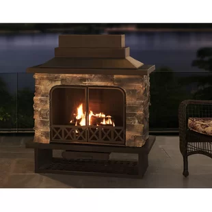 Sofie Steel Wood Burning Outdoor Fireplace Joss Main In 2020 Outdoor Fireplace Outdoor Wood Burning Fireplace Fireplace