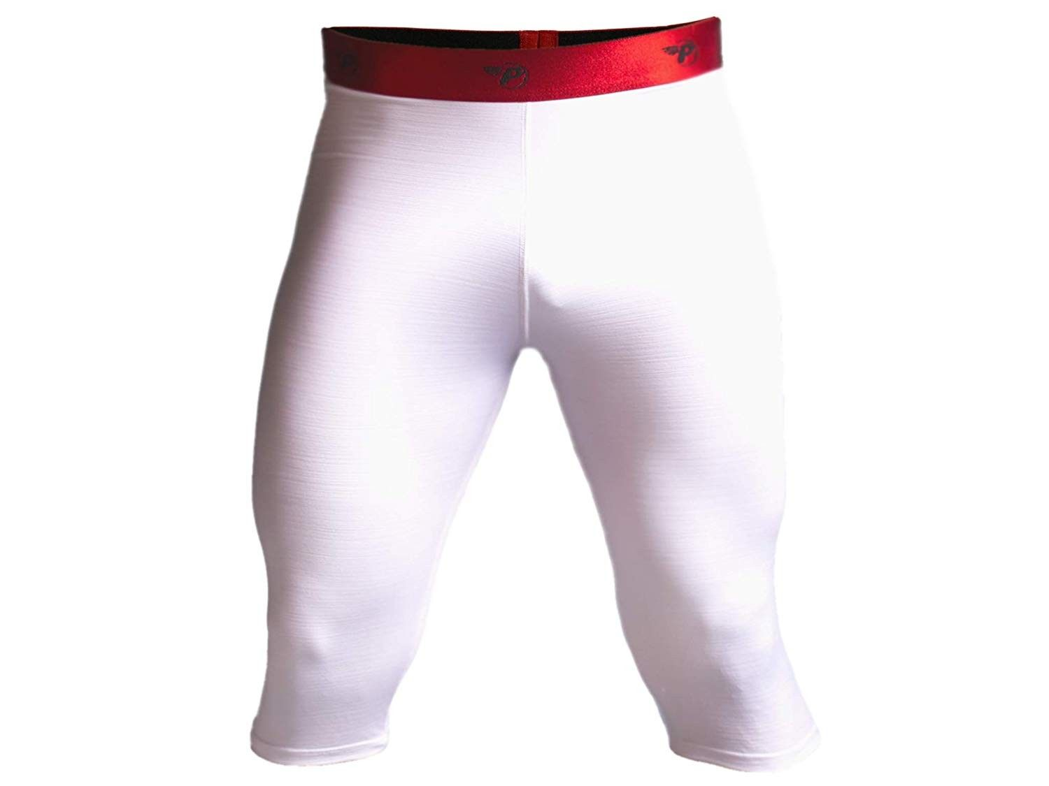 Compression Workout Pants Tights 3/4 Capri Shorts Leggings Quick Dry Running - White & Red Band - C9...