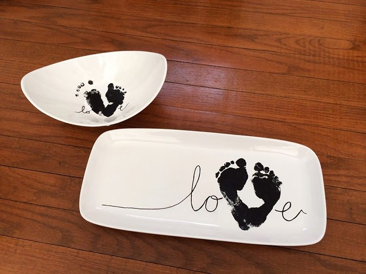 Diy a baby footprint love plate for grandparents this year a diy a baby footprint love plate for grandparents this year a sweet craft keepsake gift negle Images
