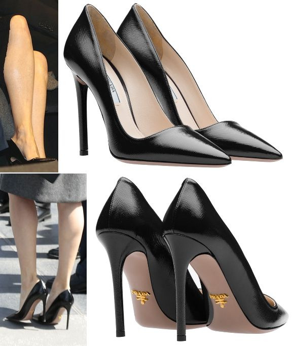 be17cd9d8e On her feet were a new pair of Prada black Saffiano print patent leather  pointy toe pumps. They feature a 110 mm covered stiletto heel.