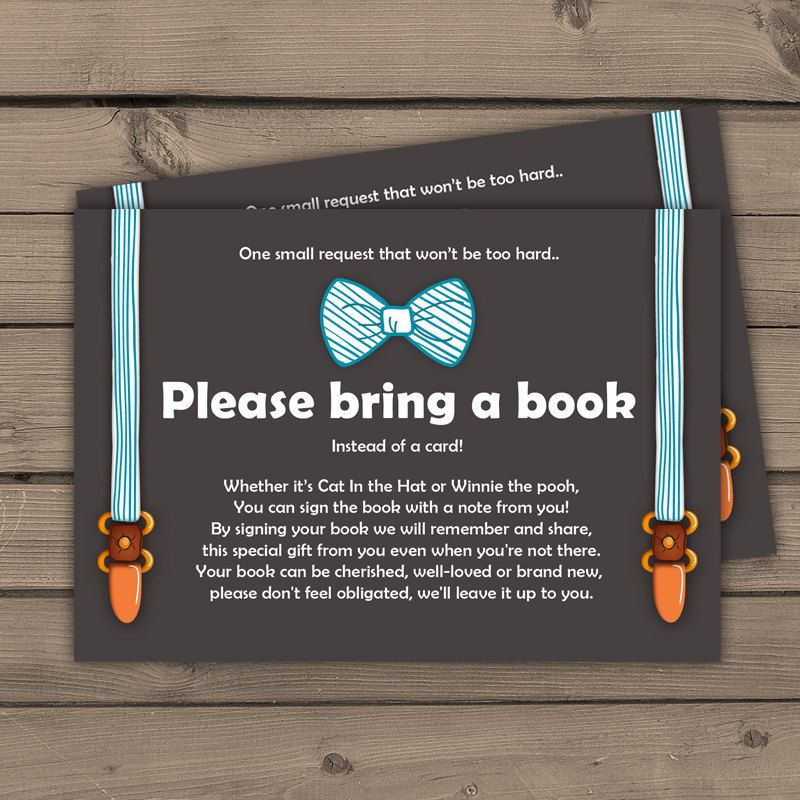 Baby shower Bring a book card Little man Baby by Anietillustration ...
