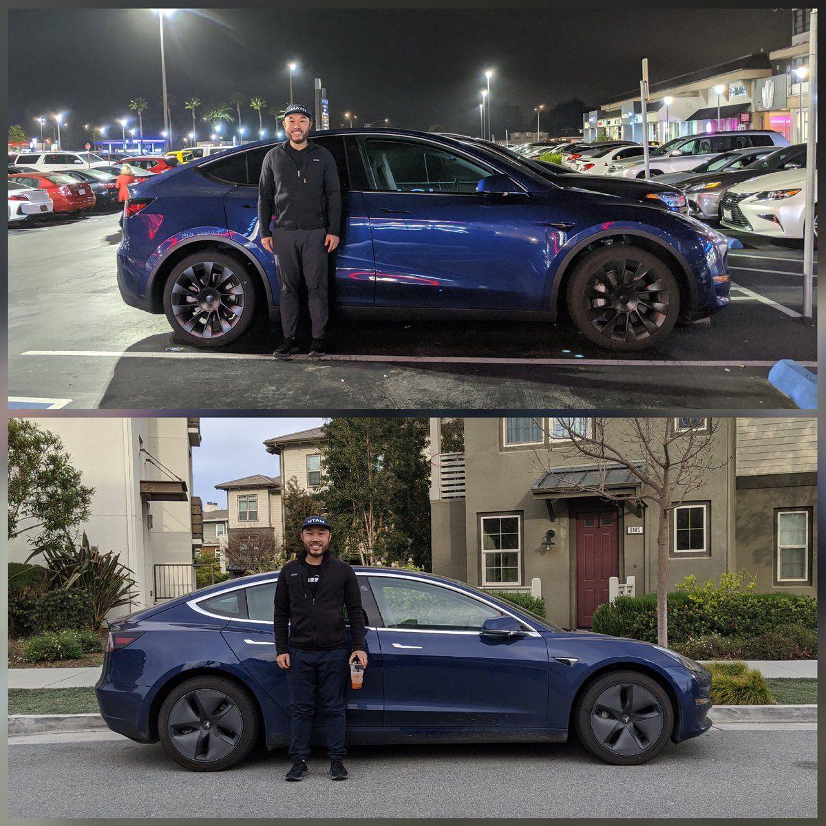 Tesla Fan S Selfie With Model Y Vs Model 3 Vs Model X Is The Best Size Comparison Yet Tesla Model Tesla Motors Tesla