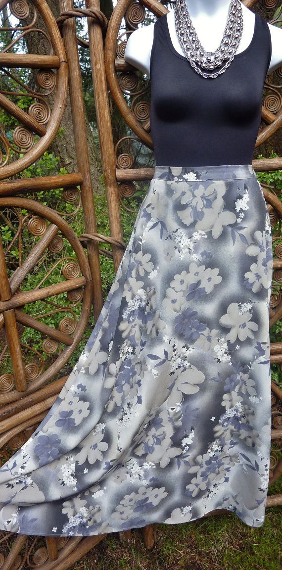 Maxi skirt in shades of gray floral : waist 27 by LamplightGifts
