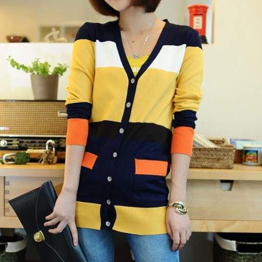 Raphael Color-block Cardigan (Orange/Mustard/Navy)