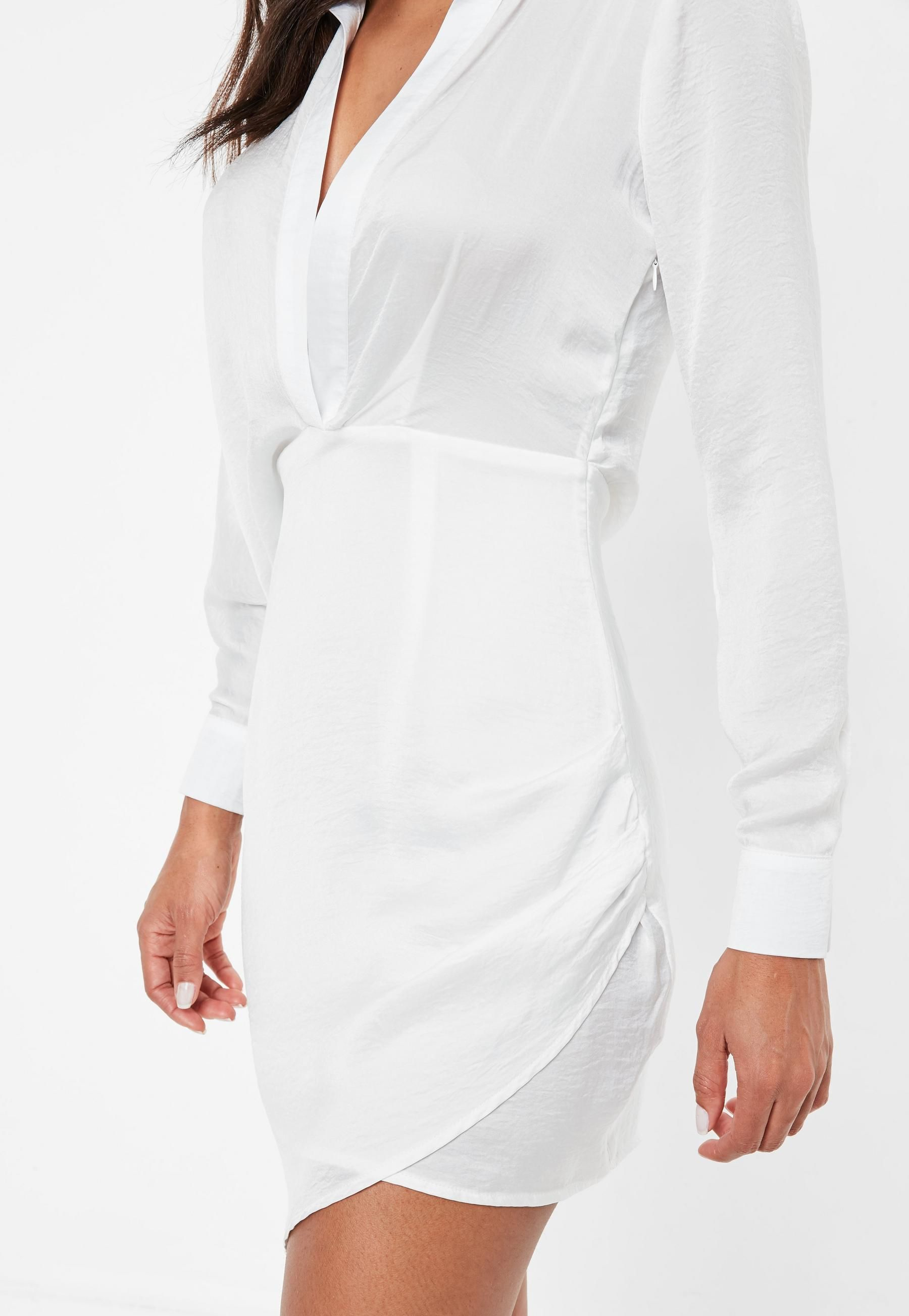88f7a6767f8a White Asymmetric Satin Shirt Dress | Missguided | Dresses | Dresses ...