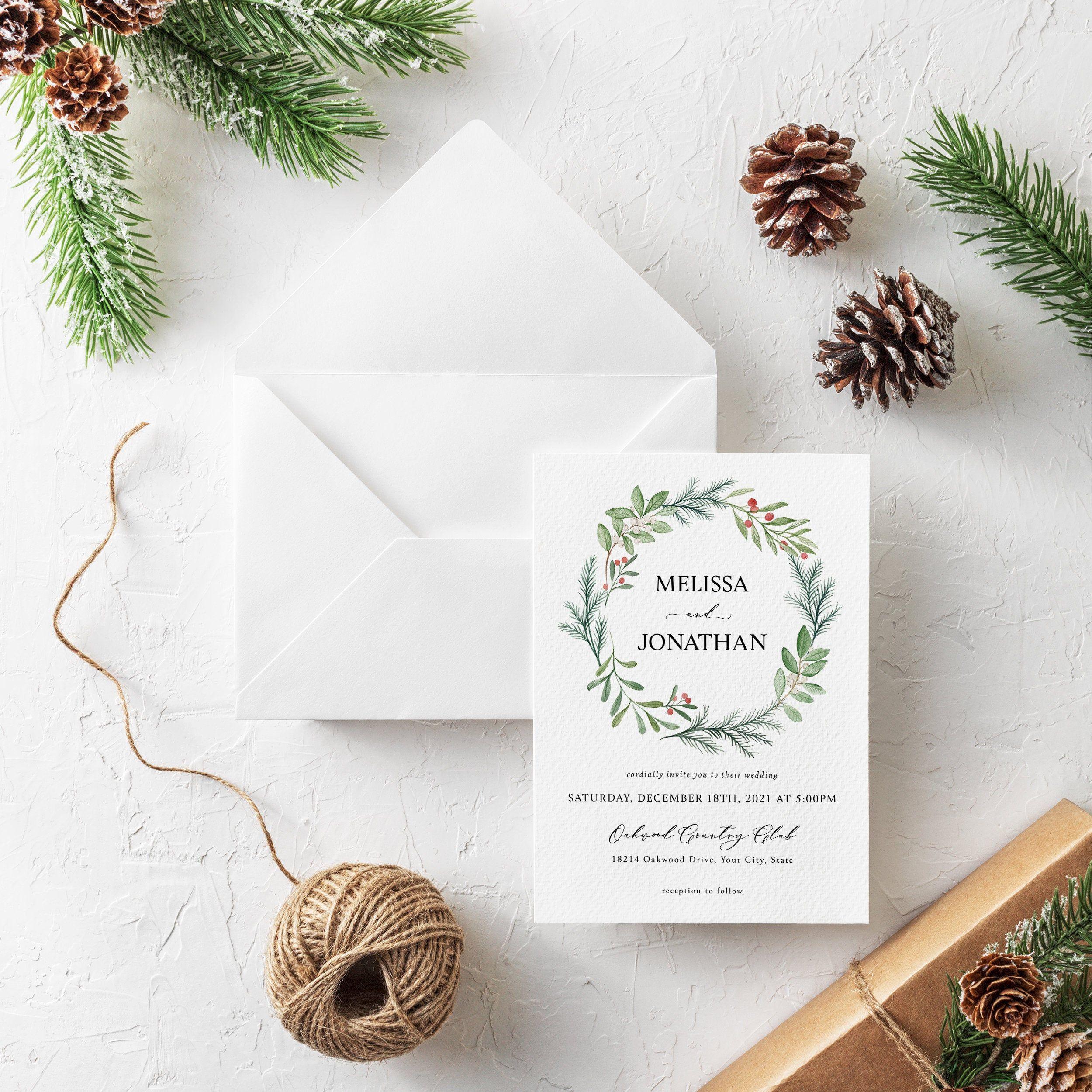 A Wedding For Christmas 2021 Winter Wedding Invitation Christmas Wedding Invite Holiday Etsy In 2021 Printable Holiday Card Christmas Card Template Christmas Photo Cards