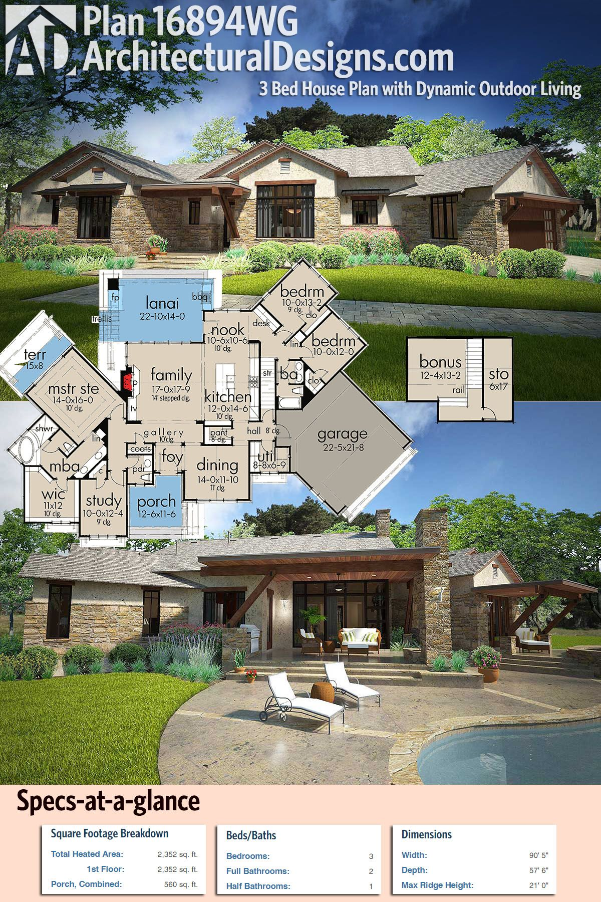 Plan 16894WG 3 Bed House Plan with Dynamic Outdoor Living