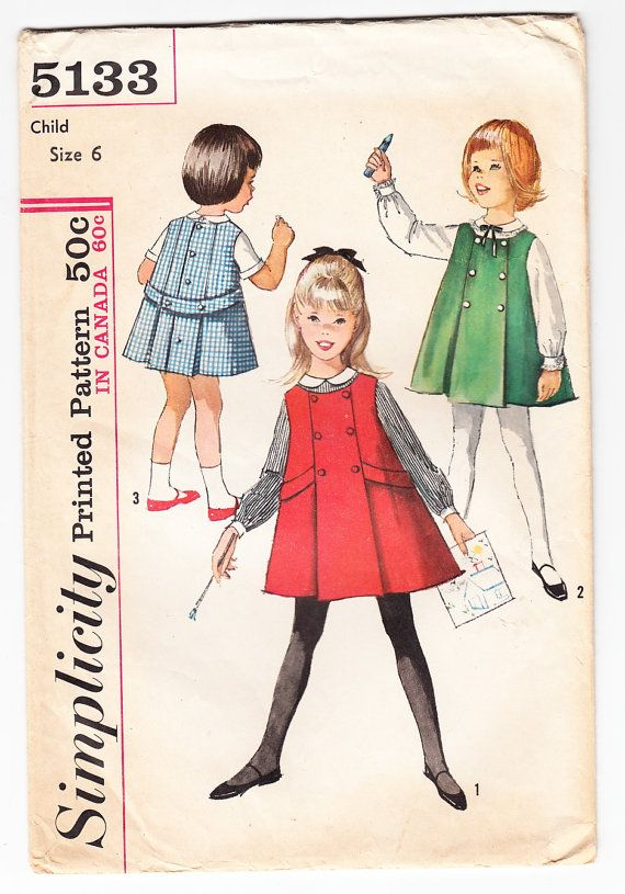 Vintage 1963 Simplicity 5133 Sewing Pattern Girls\' Jumper and Blouse ...