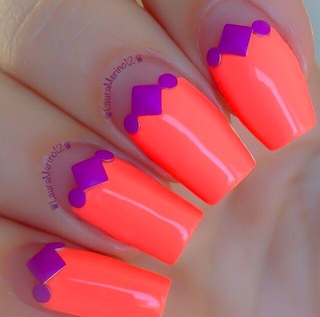 LOVE Neon Nails! Nails by @Laura Jayson Jayson Jayson Jayson Jayson Jayson Merino ✨Polish: China Glaze 'Flip Flop Fantasy' & Born Pretty Store Studs Shop China Glaze