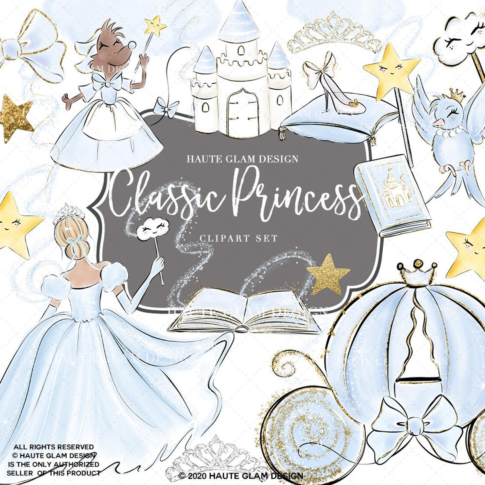 Classic princess clipart set fairytale clipart magical
