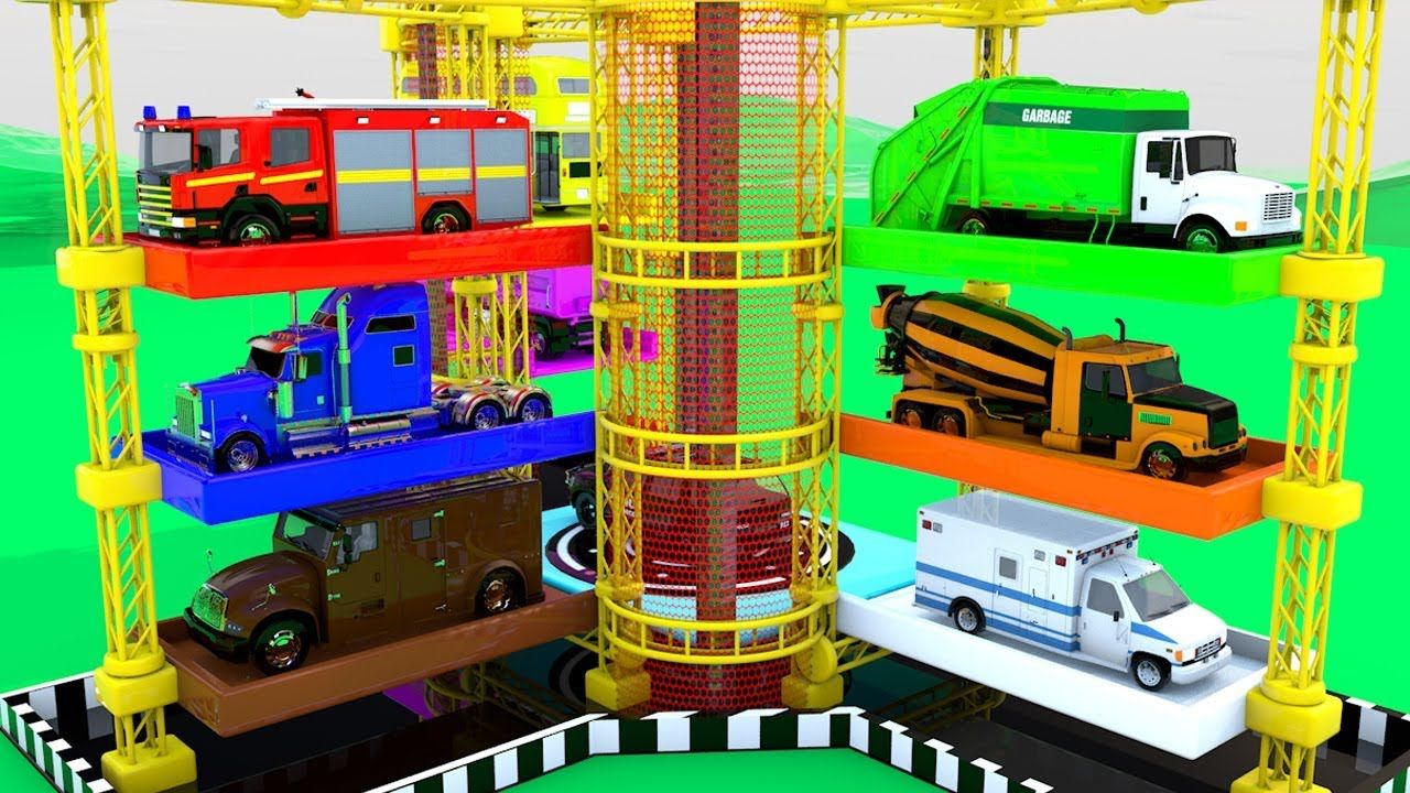 Colors for Children to Learn with Street Vehicles with Huge Parking ...