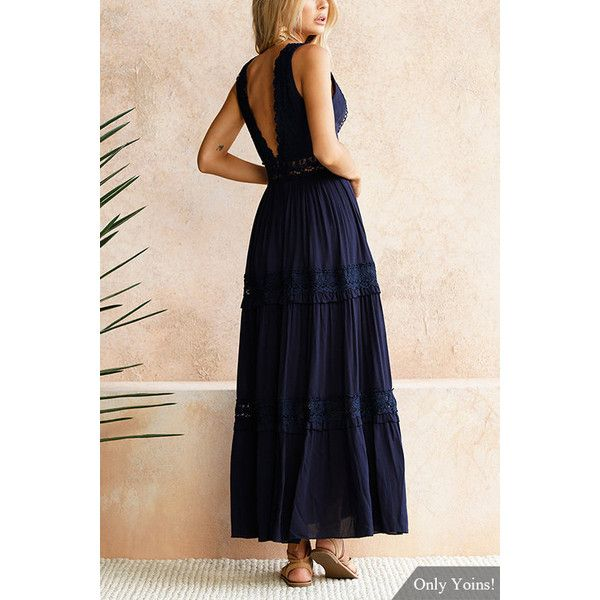 Sweet V-neck Lace Maxi Dress in Navy ($29) ❤ liked on Polyvore featuring dresses, v-neck maxi dresses, high waist maxi dress, sleeveless lace dress, v neck lace dress and navy dresses