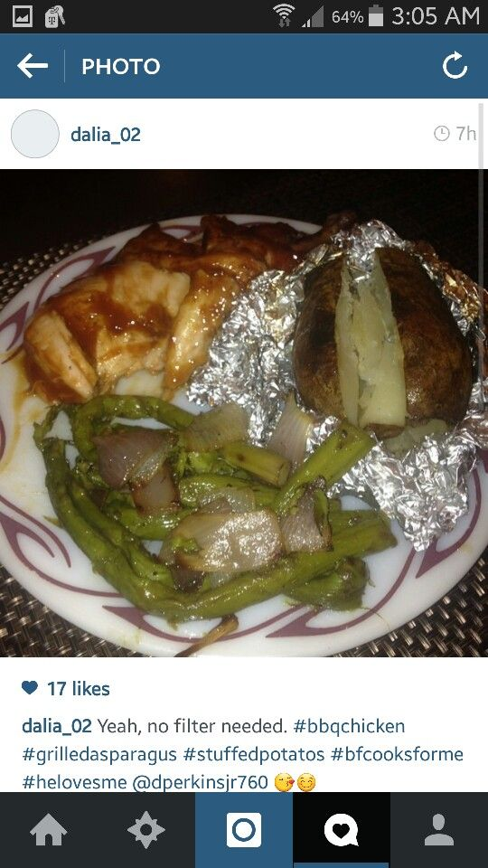 Beer can chicken with hunts bbq sauce bbq pit boys core baked potato my own asparagus and onions ;) easy amazing dinners message me for recipes