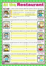 English worksheet: At the restaurant - easy, short dialogues