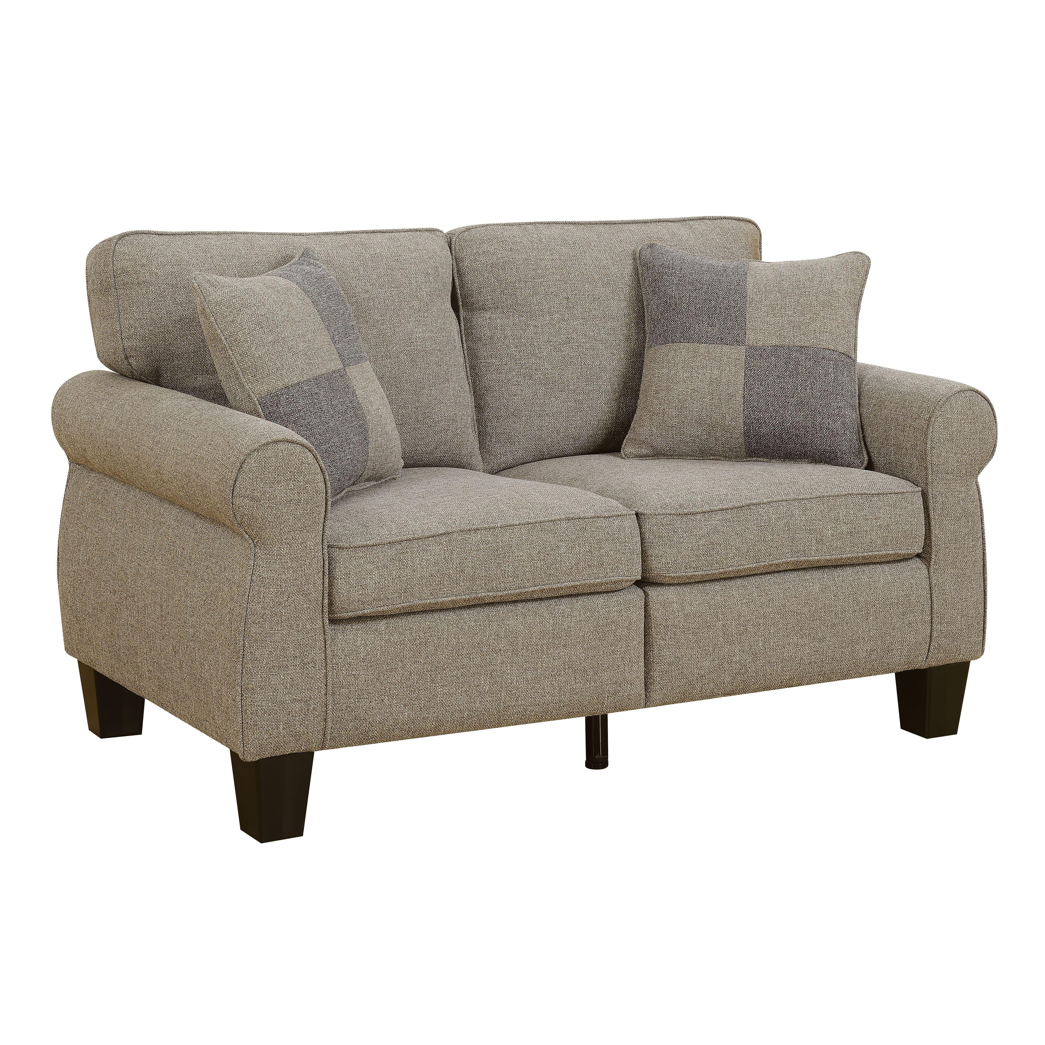 Furniture Of America Herena Transitional Linen Like Loveseat Light Grey