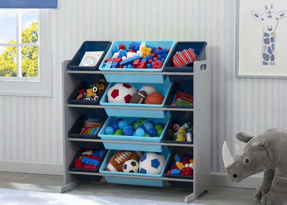Kids Toy Storage Organizer With 12 Plastic Bins Toy Storage