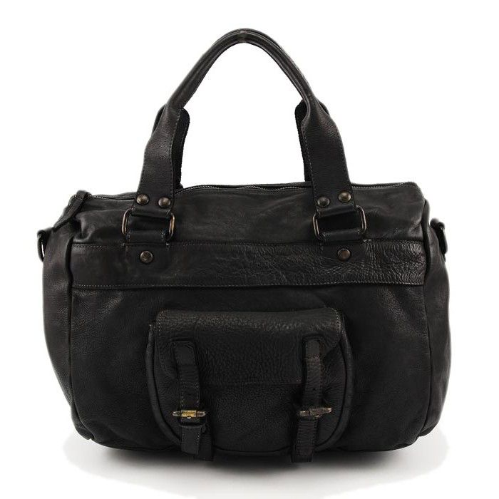 Lederhandtasche vintage used look schwarz echt Leder Damen
