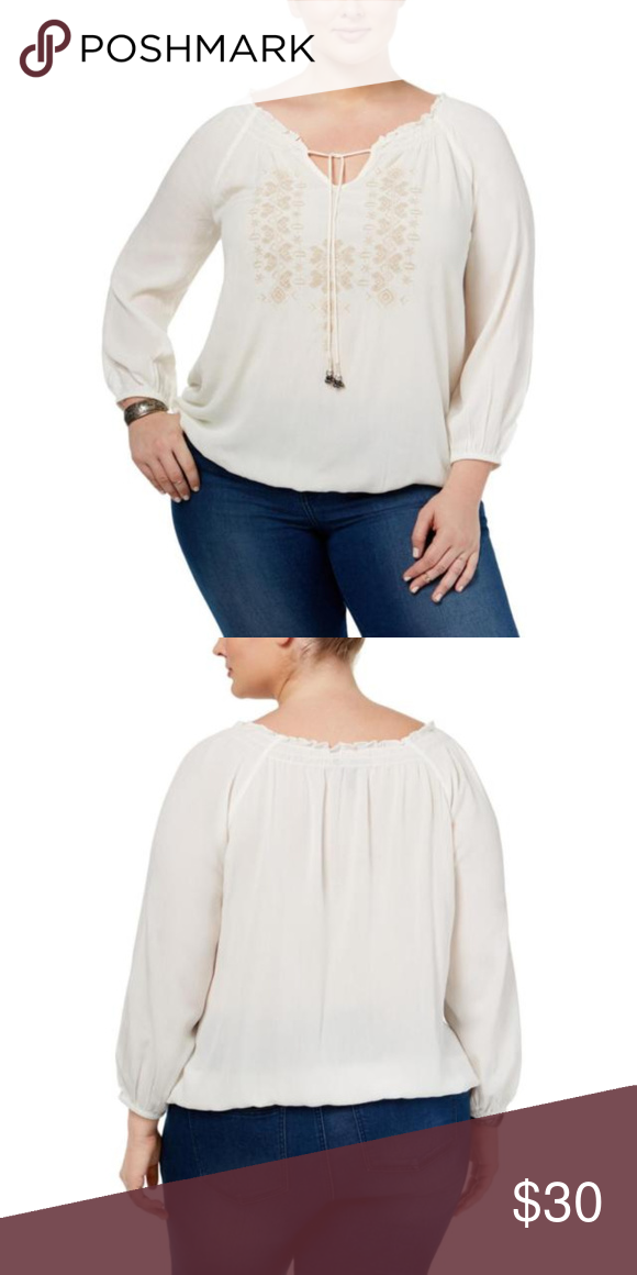 15783e911c7 Jessica Simpson Plus Size Peasant Top 2X Jessica Simpson Elizabella Peasant Top  size 2X  Taupe Embroidered Neckline  Ivory Crinkle Material  Boho Style ...