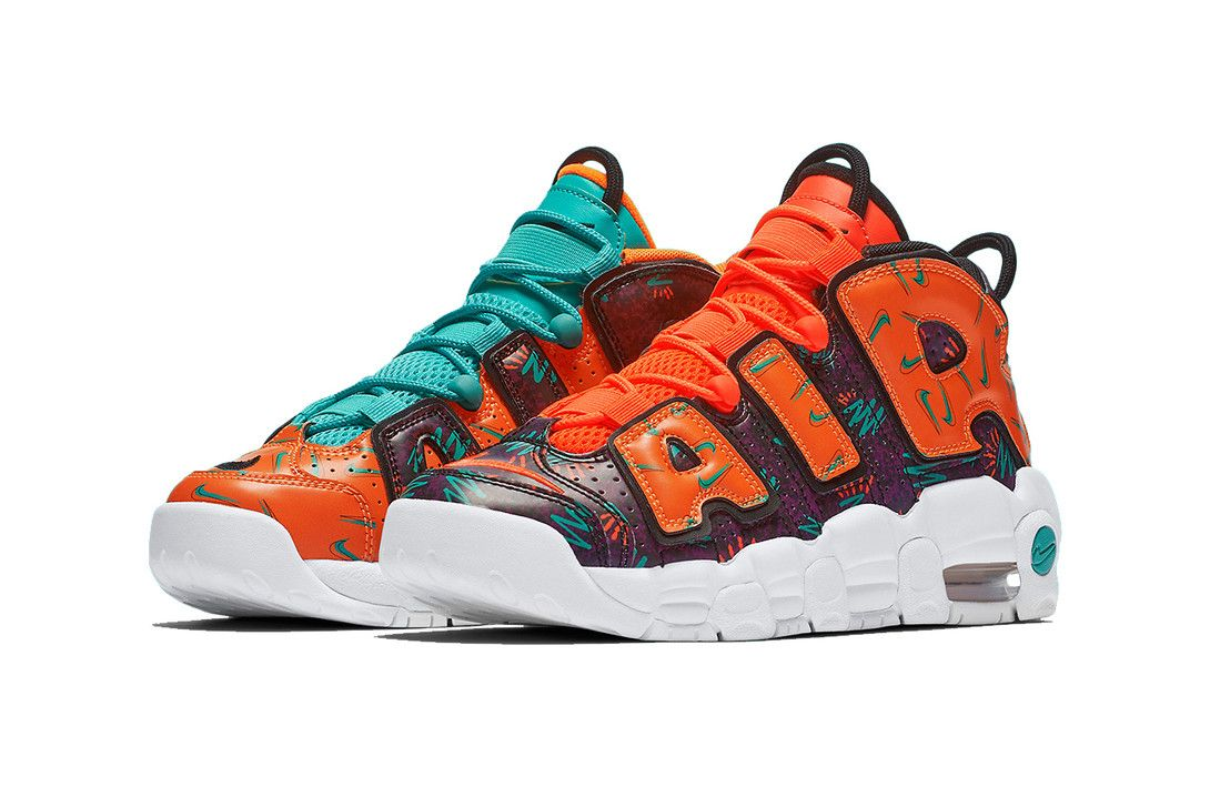 8b7a96b9d4b5 nike air more uptempo gs mismatched 2018 nike sportswear footwear total  orange black hyper jade bordeaux