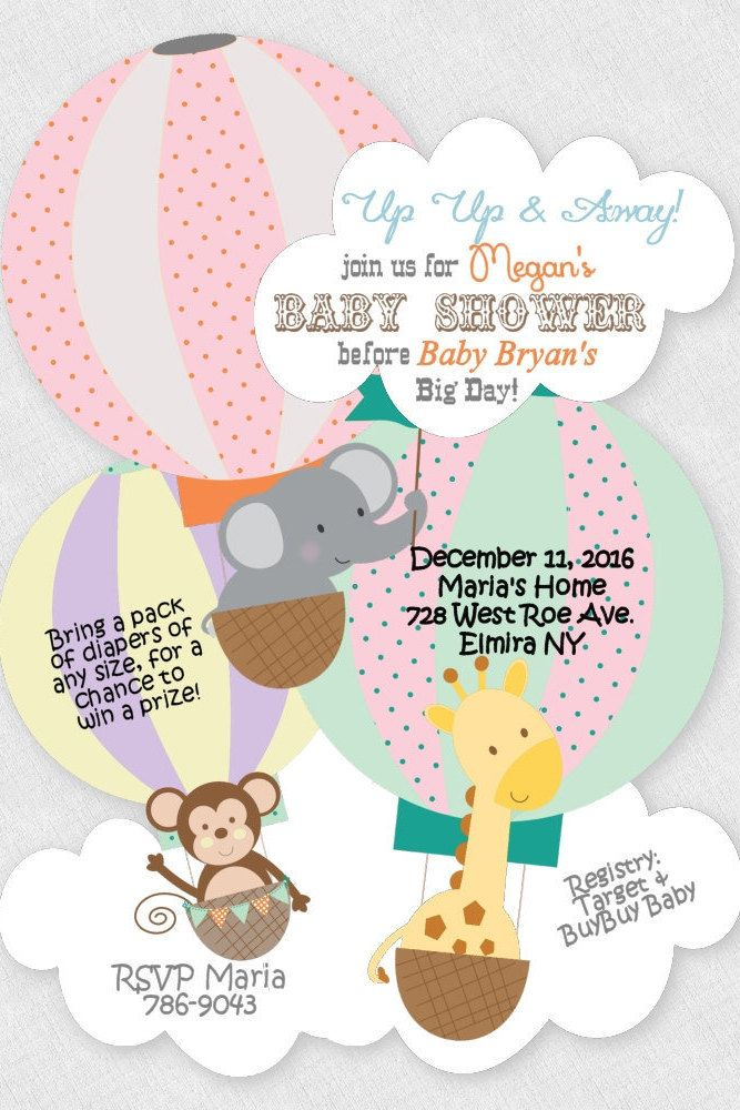 Baby Shower Invitation, Jungle Elephant Invitation, Monkey ...