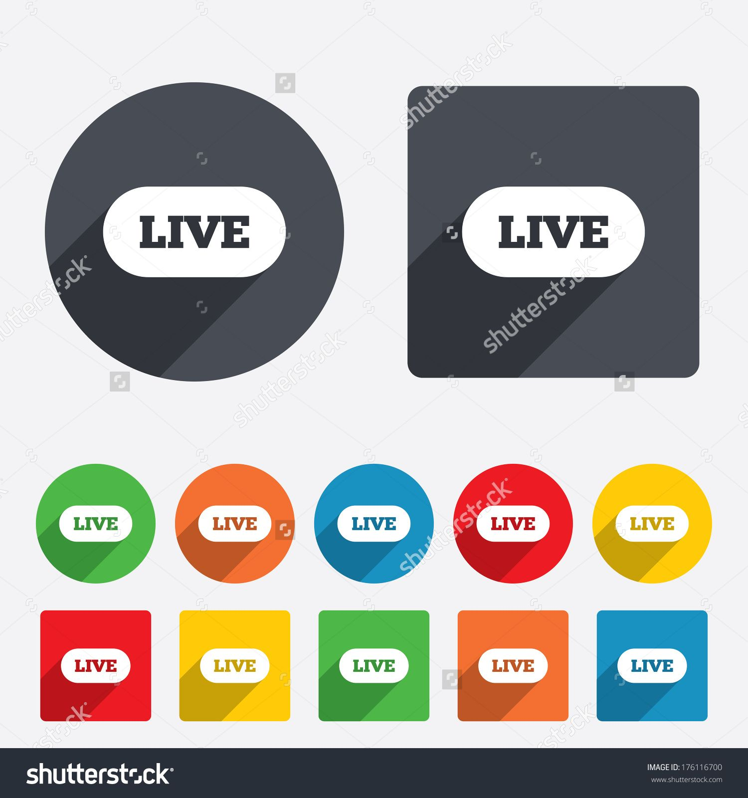 Live Sign Icon On Air Stream Symbol Circles And Rounded Squares 12