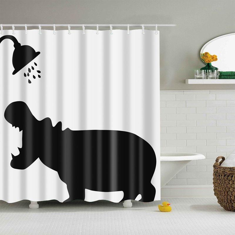 Animal Shower Curtains Hippo Shadow