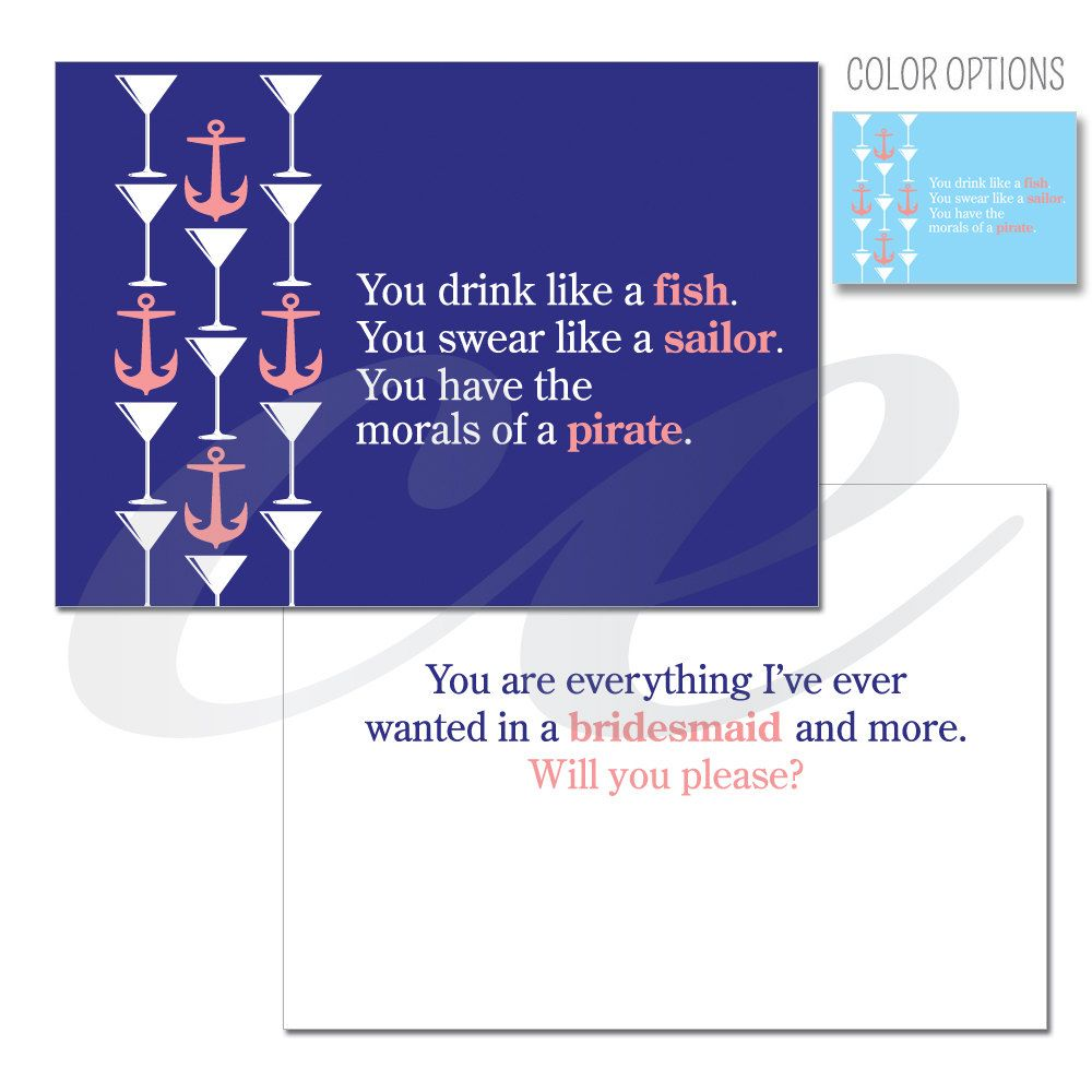 Funny Will You Be Bridesmaid Card Maid Of Honor Card Matron Of Honor Card Sailor 4 50 Via Bridesmaid Funny Will You Be My Bridesmaid Be My Bridesmaid