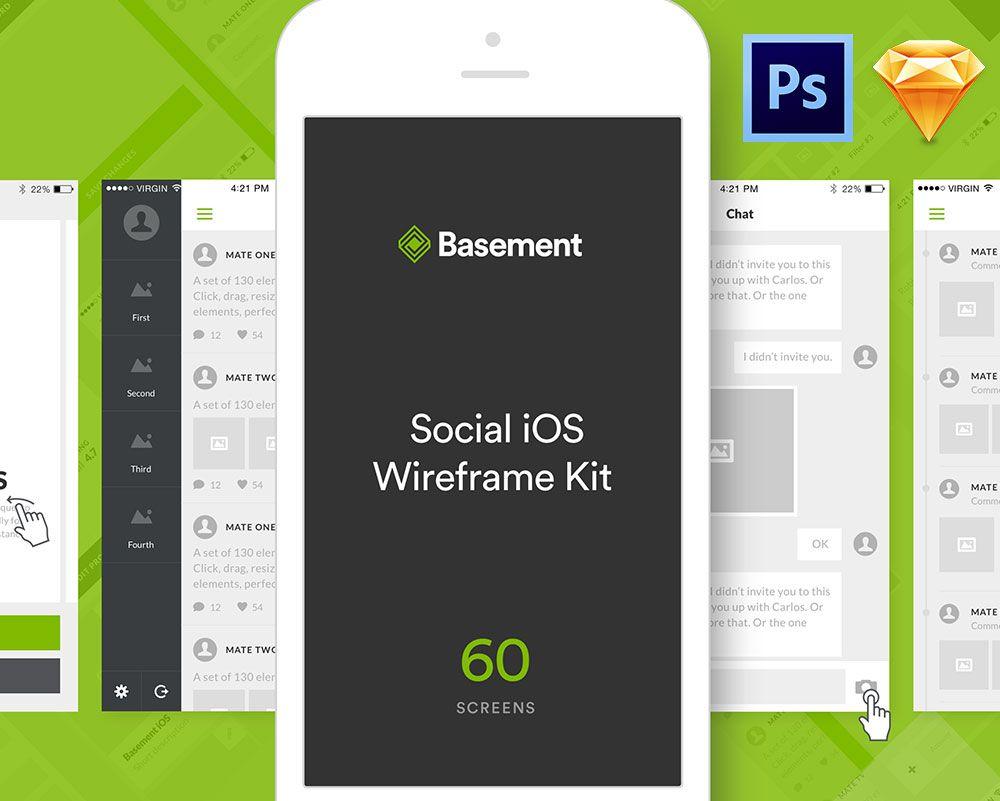 Basement iOS Social UI Kit | Ui kit, Mobile app design and Wireframe