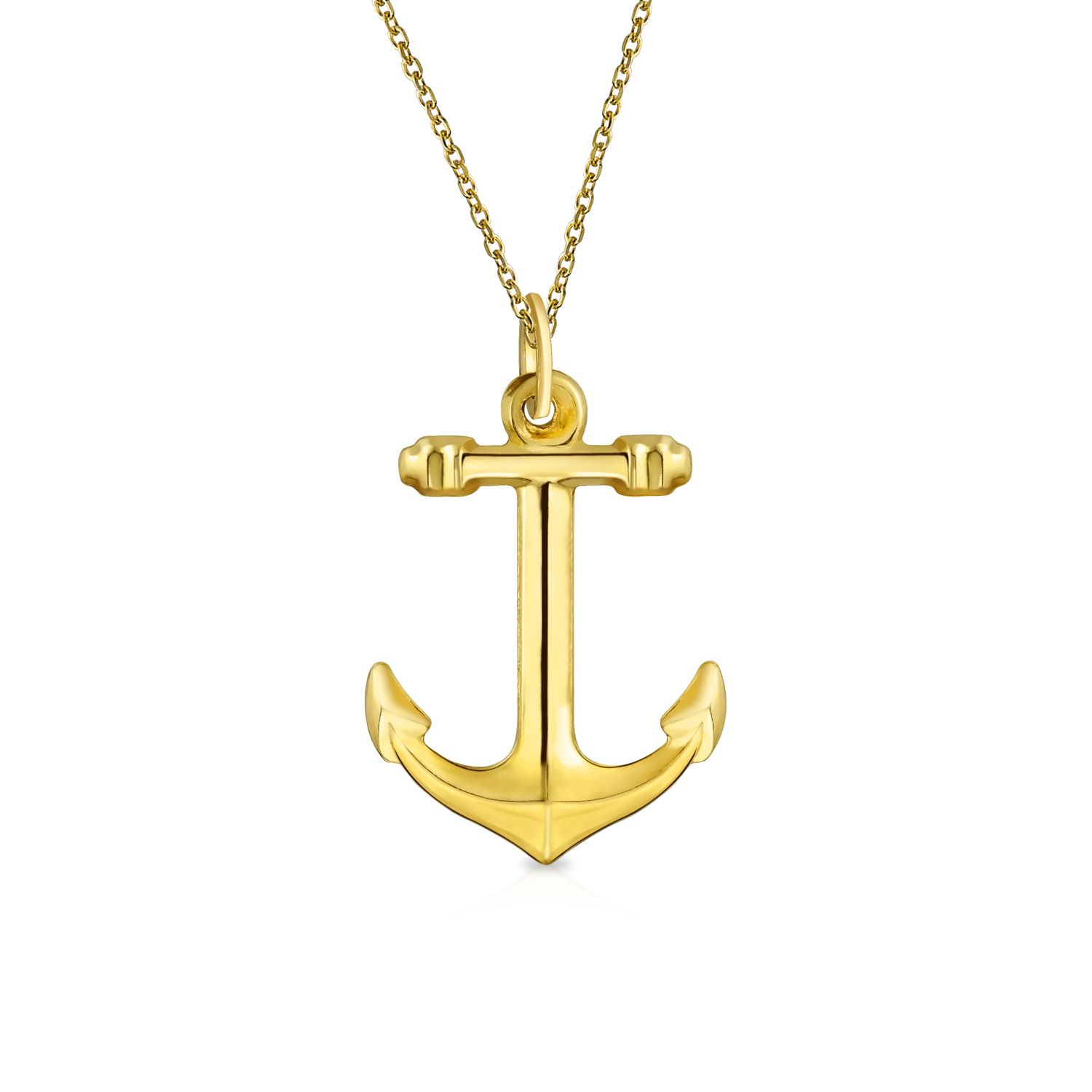 14k Yellow Gold Polished Anchor Charm or Pendant