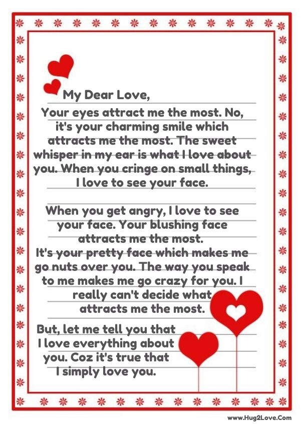 Sweet romantic love letter