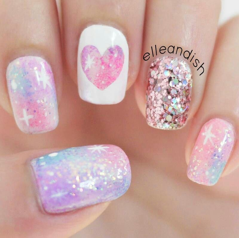 Glitter heart nails pinterest manicure makeup and easter nails pastel galaxy nails in pink and purple with a glitter feature nail and reverse heart accent prinsesfo Choice Image