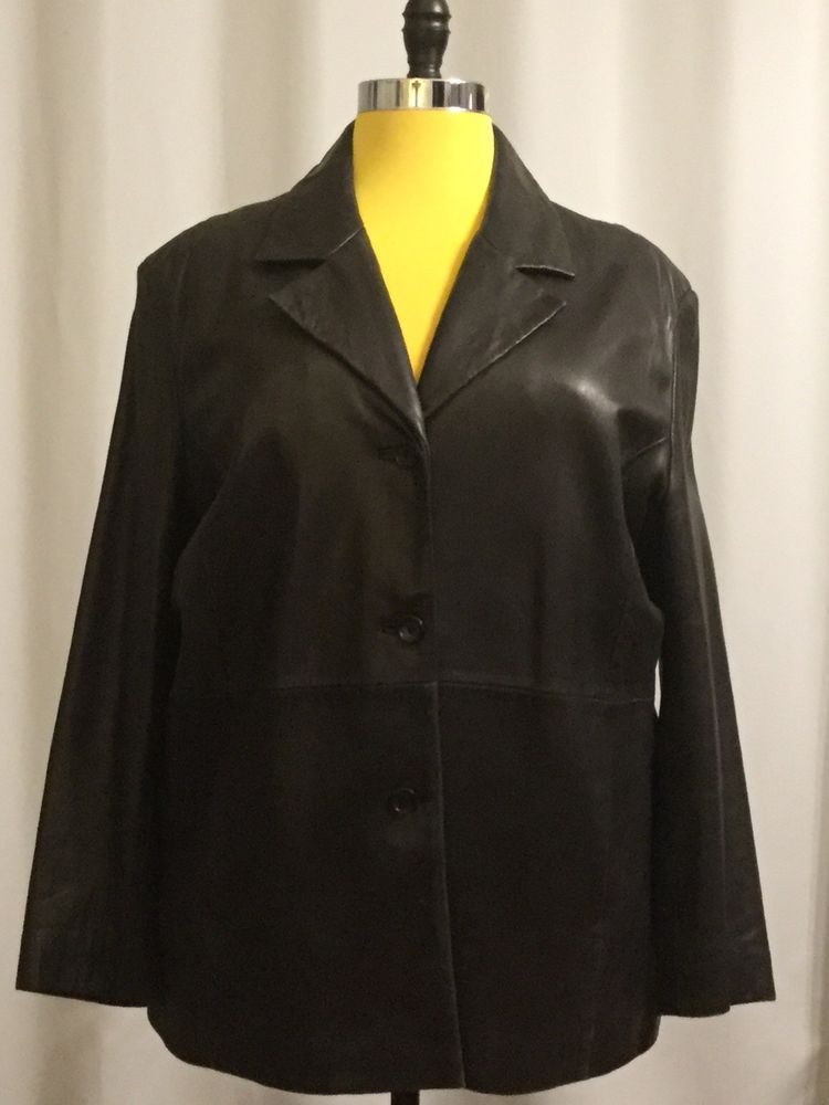 fcc14bdfd5 Marshall Fields 111 State Genuine Leather Coat Black Leather Womens Plus  Size 1x  fashion  clothing  shoes  accessories  womensclothing   coatsjacketsvests ...
