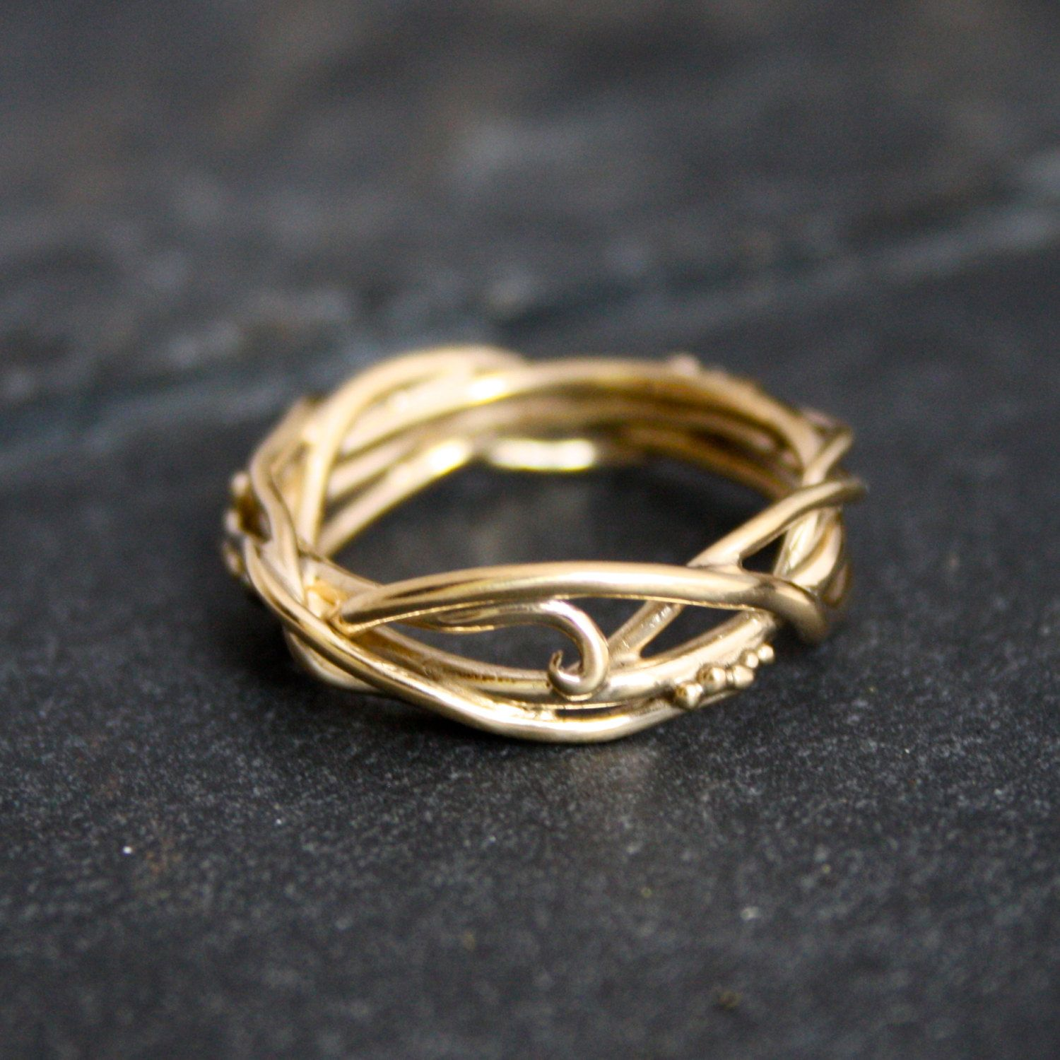 14Kt Yellow Gold Elvin Flow Organic Whimsical Engagement Ring
