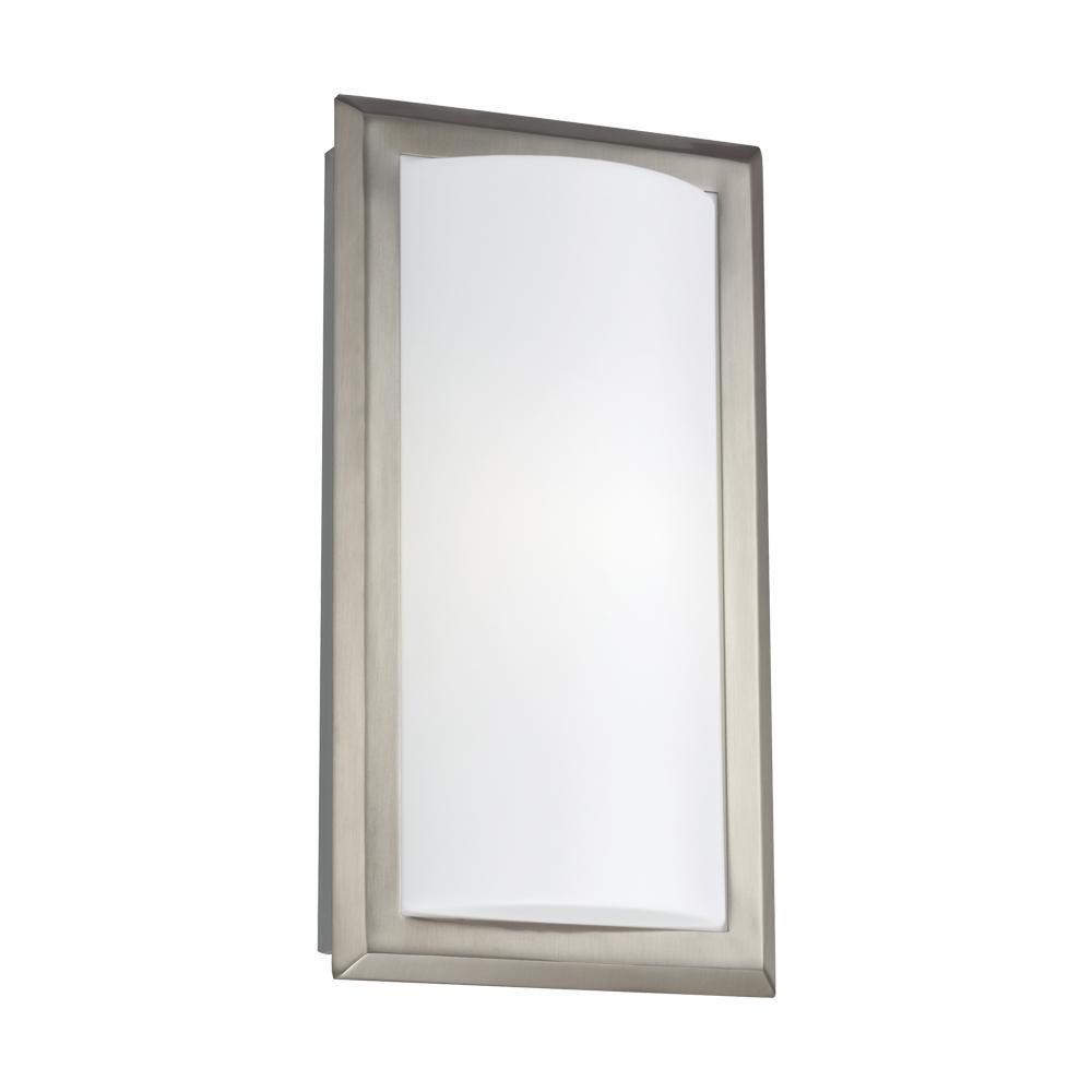 SeaGull has created this brushed nickel fixture that is a surprisingly, contemporary wall sconce for being energy efficient!  Ideal in a main bathroom or even laundry room!