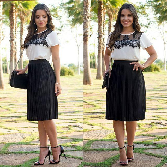 1547ee8c1  Look Fabuloso by  silvanaribeiro.modafeminina  Saia Plissada que está  super em alta e Blusa P B