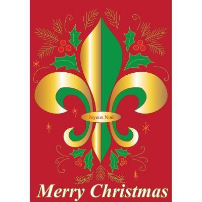 Merry Christmas Fleur De Lis Garden Flag