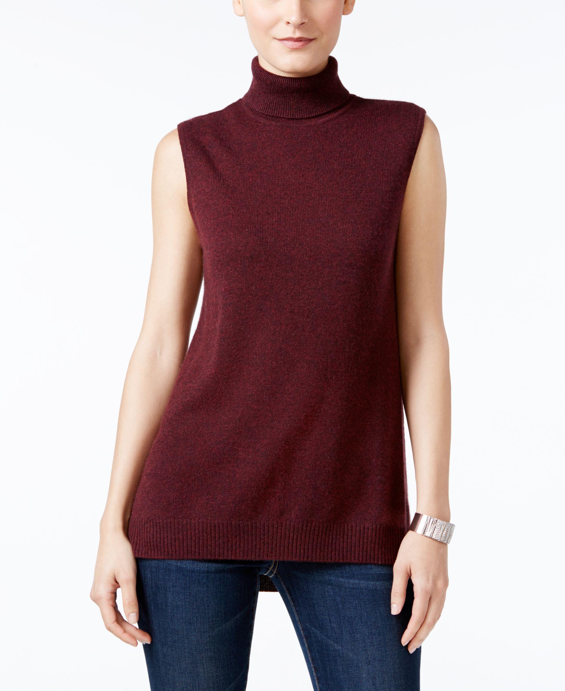 9d06504b621b8 Charter Club Cashmere Sleeveless Turtleneck Sweater