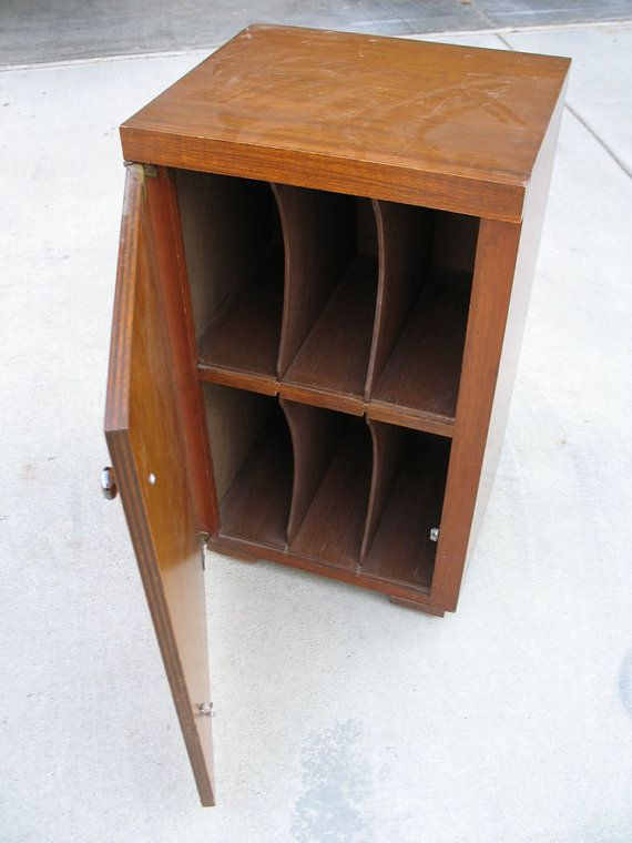 Mid Century Vinyl Record Storage Furniture Cabinet