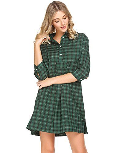 b32c6bc9b4 Acecor Women Casual Stand Collar 3 4 Sleeve Plaid Button Split Hem Sleepwear  Shirt Dress