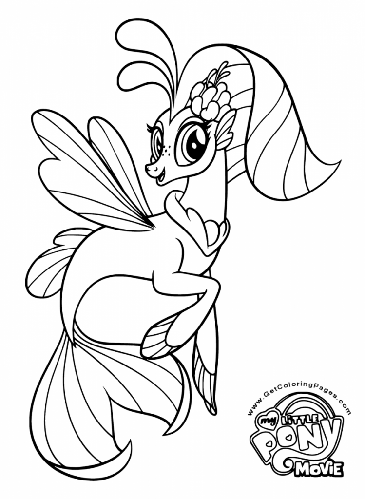My little pony the movie coloring page princess skystar seapony