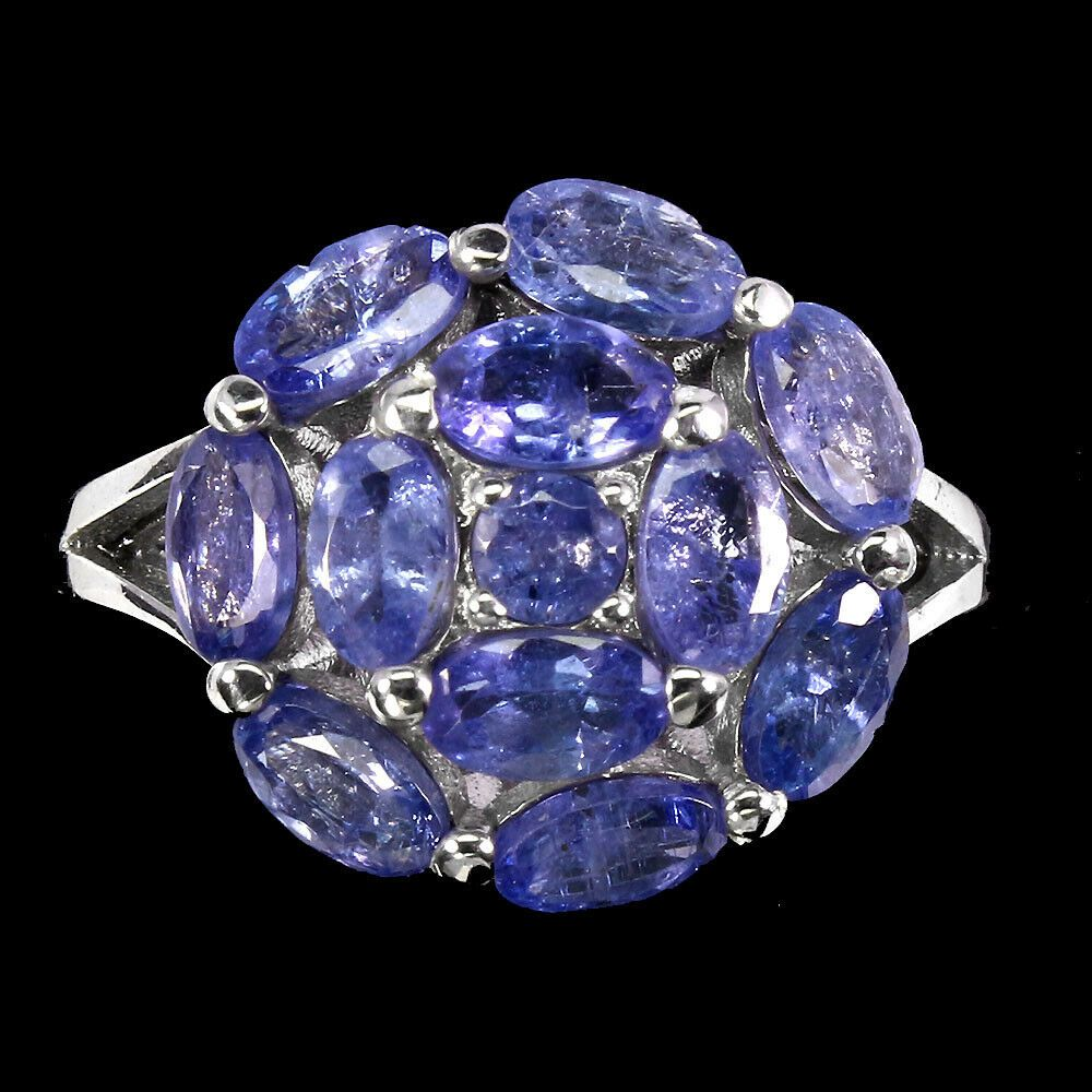 natural unheated tanzanite 925 silver sterling golden plate earrings and ring size 7 12