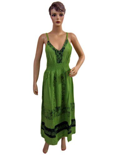 Womens Green Batik Print Embroidered Bohemian « Dress Adds Everyday